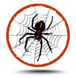 Crusader spider on his web in red circle composition. Composition crusader spider on his web in red circle, illustration with shadow Stock Images
