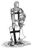 Crusader with sword and shield. Black and white drawing of standing Crusader armed with sword, helmet and shield Stock Image