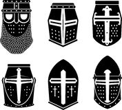 Crusader Warrior Great Helm. Variation of Historical head armor design, isolated on white background Royalty Free Stock Photos