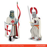 Crusader warrior medieval fighter couple. Flat 3d isometric web site vector illustration. People in traditional costume collection Stock Photo