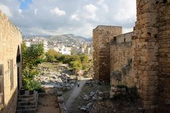 Crusaders Castle of Byblos, Mediterranean coast, Lebanon stock photography
