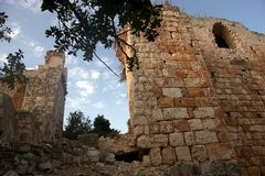 Crusaders castle ruins in Galilee Royalty Free Stock Photo