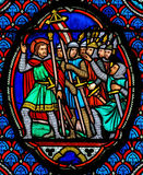 Crusaders - Stained Glass in Cathedral of Tours, France Royalty Free Stock Images