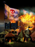 Crusades. Crusaders camp with enigmatic flag, at the gates of a medieval city on fire Stock Image
