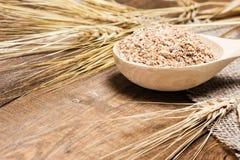 Crusca di frumento in cucchiaio di legno con le orecchie del grano Immagine Stock Libera da Diritti