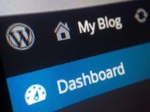 Cruscotto del blog di Wordpress fotografia stock libera da diritti