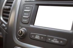 Cruscotto del veicolo con lo schermo bianco isolato dell'affissione a cristalli liquidi Fotografia Stock