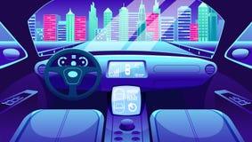 Cruscotto del veicolo elettrico dell'automobile astuta Controllo virtuale dell'interfaccia grafica della strada del traffico citt Illustrazione di Stock