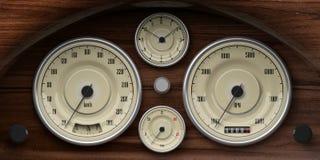 Cruscotto di legno dell'automobile d'annata con i retro calibri illustrazione 3D Fotografia Stock Libera da Diritti