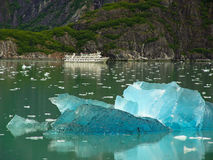 Cruse ship with Blue Ice. Cruse ship in Alaska Inland Passage Stock Photos