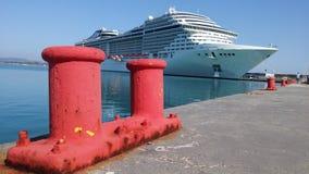 Cruse Ship in Port of Katakolon Royalty Free Stock Image