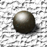 Crush. Metal ball crushes painted surface Royalty Free Stock Photography