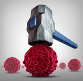 Crush Cancer. Concept as a heavy sledgehammer or hammer crushing and smashing,a cancerous cell as a health care medical symbol for a research or pharmaceutical Stock Image