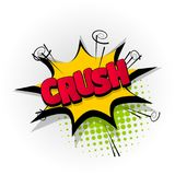 Crush crash comic book text pop art. Crush crash hand drawn pictures effects. Template comics speech bubble halftone dot background. Pop art style. Comic dialog vector illustration
