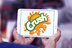 Crush logo. Logo of drinks company crush on samsung tablet royalty free stock images