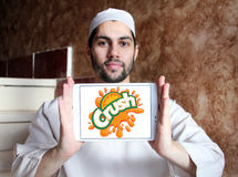Crush logo. Logo of drinks company crush on samsung tablet holded by arab muslim man stock images