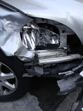 Crushed by accident front headlight of a car Royalty Free Stock Image