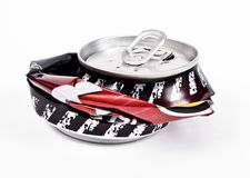 Crushed aluminum can Stock Photo