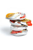 Crushed aluminum pop cans. Stock Images
