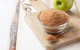 Crushed apple fiber, green apples Stock Photo