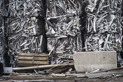 Crushed Bales of Aluminum Scrap Stock Images