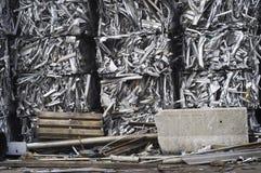 Crushed Bales of Aluminum Scrap stock images