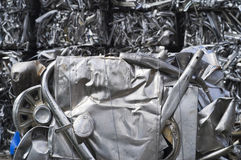 Crushed Bales of Aluminum Scrap & Close-Up Stock Photo