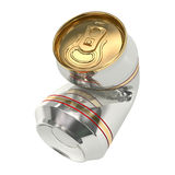 Crushed beer can 01 Royalty Free Stock Image