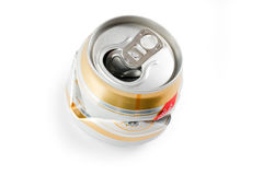 Crushed beer can Royalty Free Stock Image