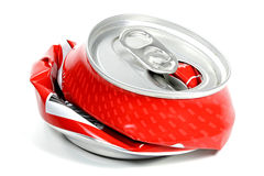 Crushed beverage can Royalty Free Stock Photography
