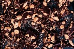 Crushed black chocolate dark chocolate/ Luxury chocolate backgro Stock Photos