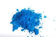 Crushed blue eye shadow isolated on white background.  royalty free stock photo