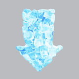 Crushed blue ice arrow banner Royalty Free Stock Photo