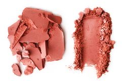 Crushed blusher isolated on white. Background Stock Photo