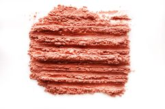 Crushed blusher isolated on white. Background Royalty Free Stock Image