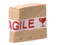 Crushed Box with Fragile Tape Stock Photography