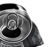 Crushed Can. Crushed soft drink can in black and white, showing drink opening Royalty Free Stock Photos