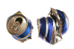 Crushed cans. Two crushed beer cans captured over white Royalty Free Stock Images