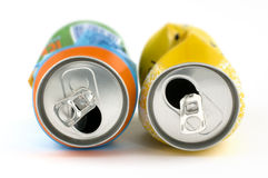 Crushed cans with shallow depth of field stock photo