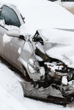 Crushed car in winter Royalty Free Stock Photography