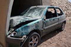 Crushed car wreck in crash accident with fatal outcome. Eilat, Israel,  April 1 2018 - Crushed car wreck in crash accident with fatal outcome stands under the Stock Images