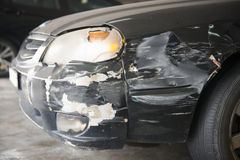 Crushed cars from accident on the road Royalty Free Stock Photography