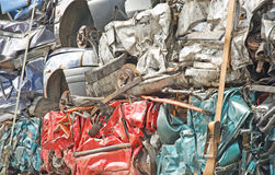 Crushed cars for recycling. Royalty Free Stock Photo