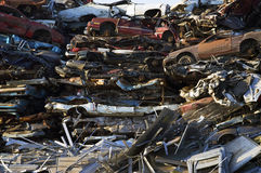 Crushed Cars and Scrap Metal Royalty Free Stock Photo