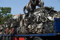 Crushed cars transportation royalty free stock images