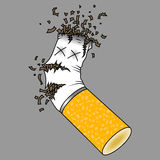 Crushed cigarette butt. Illustration of a crushed cigarette butt on a gray background Stock Photo