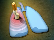 Cigarette and lungs stock illustration