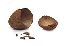Crushed coconut shell and smithers isolated on white Royalty Free Stock Image