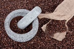Crushed Coffee Beans Stock Image