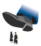 Crushed College Grads. A giant shoe about to stomp two college graduates Stock Photos